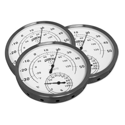 "Hygro-thermometer 4.5"" white dial with 304 SS case, Celsius, Fahrenheit, % Humidity"