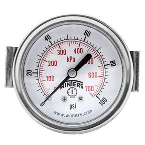 "2.5"" DIAL, U-CLAMP 1 / 4""BACK 0-100PSI / KPA"