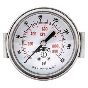 "2.5"" DIAL, U-CLAMP 1 / 4""BACK 0-160PSI / KPA"