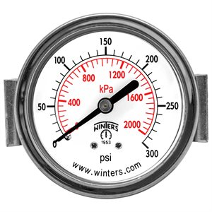 "2.5"" DIAL,U-CLAMP 1 / 4"" BACK 0-300PSI / KPA"