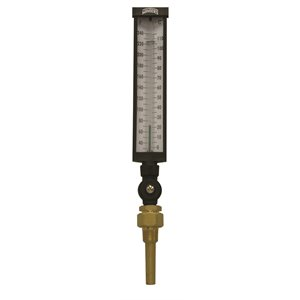Industrial 9IT Thermometer Liquid 6'' Aluminum 9'' 30 / 240 F / C 3 / 4'' NPT Var Angle Brass Thermowell