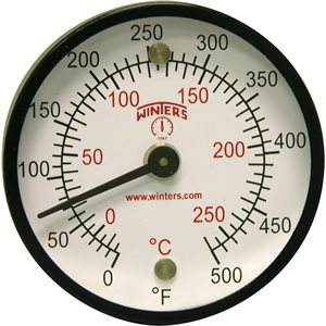 Surface Magnet Thermometer Metallic n / a Steel 2'' 0 / 500 F / C n / a Centre Back No Socket Magnet