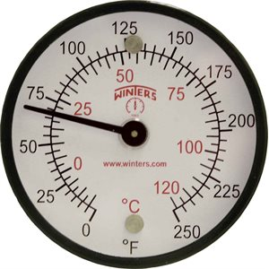 Surface Magnet Thermometer Metallic n / a Steel 2'' 0 / 250 F / C n / a Centre Back No Socket Magnet