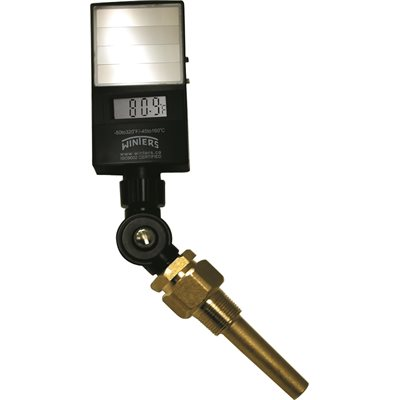 Industrial 9IT Solar Digital Therm Liquid 6'' ABS 5'' -50 / 320 F / C 3 / 4'' NPT Var Angle Brass Therm