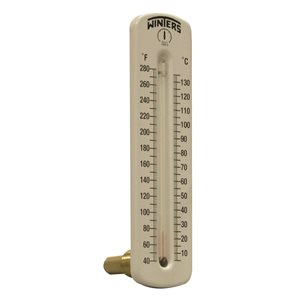 Hot Water Thermometer Liquid 2.5'' Aluminum 8'' 40 / 280 F / C 1 / 2'' NPT Lower Back Brass Thermowell